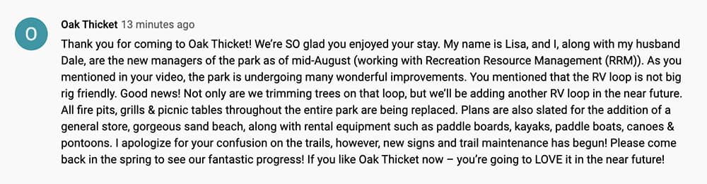 Update on Oak Thicket Park