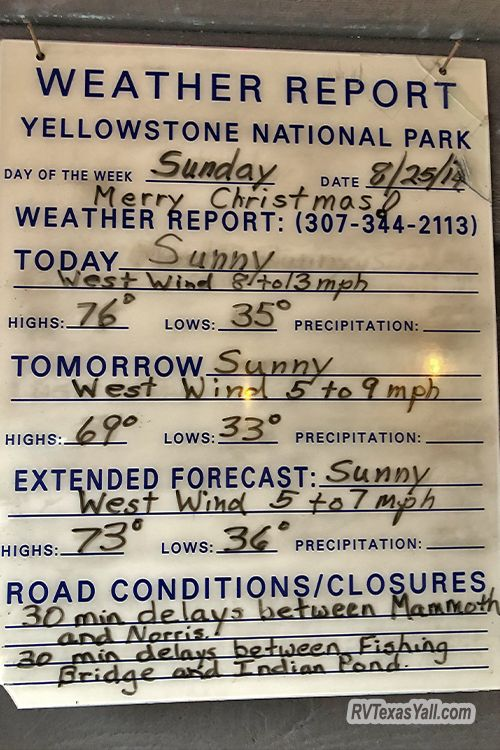 Yellowstone Weather Sign