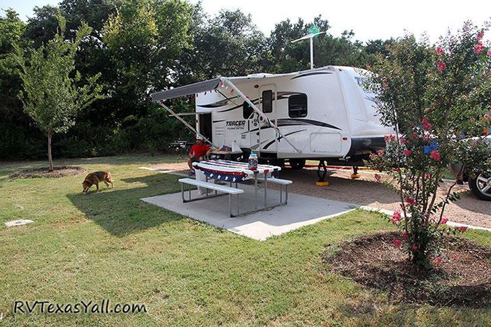 Campsite at La Hacienda RV Resort in Austin, Texas