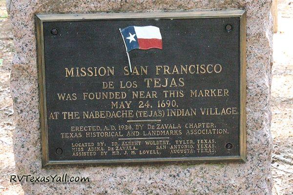 Mission Tejas Historical Marker