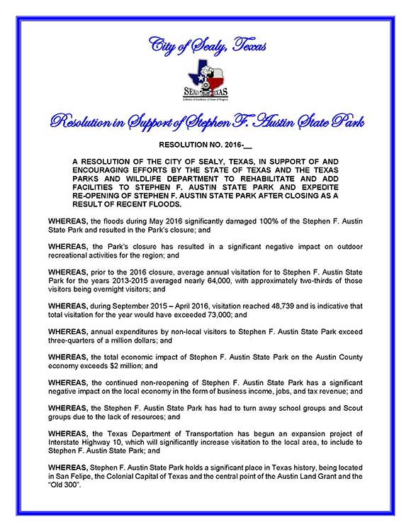 City of Sealy Resolution Page 1