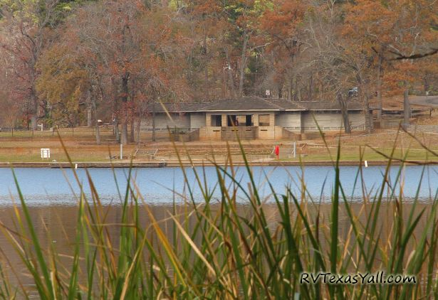 View of Historic Tyler State Park Bathhouse from Across the Lake